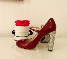 Miu Miu Tacones Mary Jane color plata-rojo frambuesa