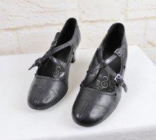Mary Jane Riemchen Pumps Schwarz Jana 6 G Größe 39 Leder Schuhe