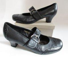 Janet D Tacones Mary Jane negro-color plata Cuero