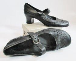 MaryJane sÒliver Größe 38 Schwarz Leder Budapester Riemchen Rund Rockabilly Schnalle Schuhe Sandaletten Pumps