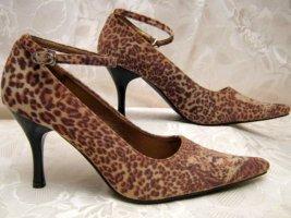 Maryjanes 36 Leoparden-Fell-Optik Velours Pumps Braun Animal