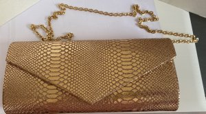 Mascara London Hand Umhängetasche Schlangen Muster Gold Rosegold Neu