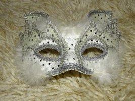 Lunettes papillon argenté-blanc fibre textile