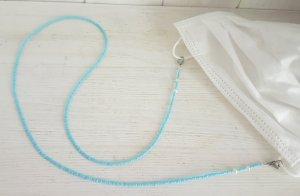 Handmade Collier de perles argenté-bleu azur