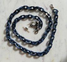 Maskenkette Brillenkette Gliederkette dunkelblau Marble Look