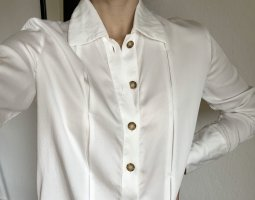 Massimo Dutti Bluse Hemd Weiß Lang