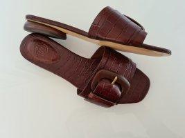 Massimo Dutti Zomerschoenen met hak donkerbruin-roodbruin