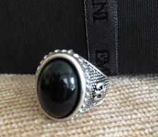 Srebrny pierścionek srebrny-czarny