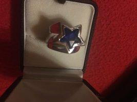 Massiven Silver Ring mit blauen glassstein.