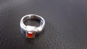 Anello d'argento argento-arancione scuro
