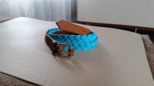 Tommy Hilfiger Pasek z materiału cognac-jasnoniebieski