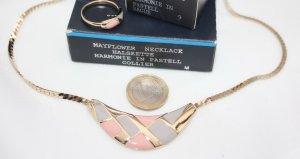 Mayflower vergoldetes Emaille Collier und Ring Pastell