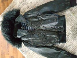 Maze Leather Jacket dark grey