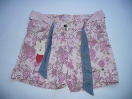 mbj High-Waist-Short rosa mit Blüten Print und Stoffgürtel Gr S
