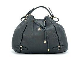 MCM 2Way Leder Schultertasche Tasche Schwarz LogoPrint Shopper Bag Black