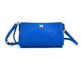 MCM 2Way Leder Umhängetasche Tasche Blau Silber Schultertasche Blue Bag