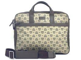 MCM Business Bag Braun Logo Print Messenger Laptoptasche Tasche Schultertasche