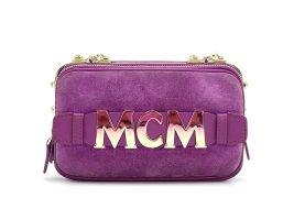 MCM Cubism Suede Crossbody Bag Mini Viva Lila Umhängetasche Leder