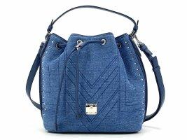 MCM Denim Schultertasche Bucket Drawstring Bag Medium Jeans Blue Tasche + Cards