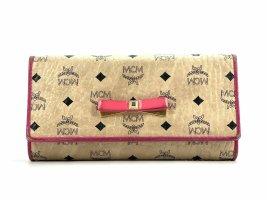 MCM Geldbörse Elfenbein Pink Portemonnaie Kartenetui Etui Size Large + Box