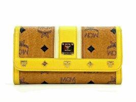 MCM Geldbörse Wallet Large Portemonnaie Kartenetui Cognac Gelb LogoPrint