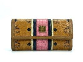 MCM Geldbörse Wallet Large Portemonnaie Kartenetui Cognac Pink LogoPrint Etui
