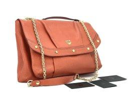 MCM Handtasche Abendtasche Tasche Bag Rot Red Leder Schultertasche Gold FlapBag