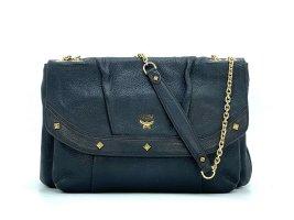 MCM Handtasche Abendtasche Tasche Bag Schwarz Leder Schultertasche Gold FlapBag