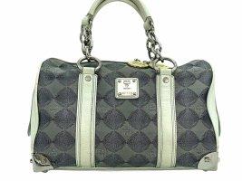 MCM Handtasche Boston Bag Anthrazit Grau Stoff Leder Tasche Henkeltasche Small