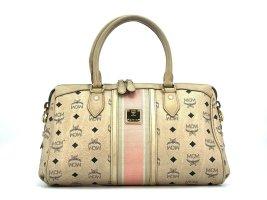 MCM Handtasche Boston Bag Elfenbein Gold Tasche Heritage Henkeltasche LogoPrint