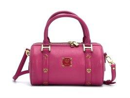 MCM Handtasche Boston Bag Tasche Henkeltasche Schultertasche Pink Gold