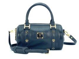 MCM Handtasche Boston Bag Tasche Henkeltasche Schultertasche Schwarz / Gold