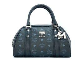 MCM Handtasche Boston Bag Tasche Henkeltasche Schwarz Silber Small + Anhänger