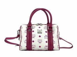 MCM Handtasche Boston Bag Tasche Henkeltasche Umhängetasche Weiß Pink Small