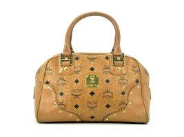 MCM Handtasche Boston Bag Visetos Cognac Gold Henkeltasche Tasche Small