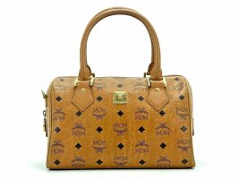 MCM Handtasche Boston Bag Visetos Cognac Gold Tasche Henkeltasche LogoPrint