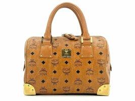 MCM Handtasche Boston Bag Visetos Cognac Gold Tasche Henkeltasche Metallbeschlag