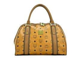 MCM Handtasche Boston Bag Visetos cognac Tasche Heritage Henkeltasche