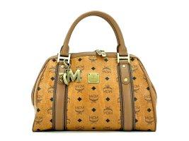 MCM Handtasche Boston Bag Visetos Cognac Tasche Heritage Henkeltasche + Anhänger