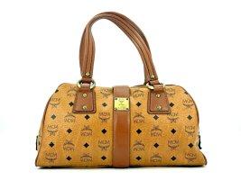MCM Handtasche Boston Bag Visetos Cognac Tasche Heritage Henkeltasche Medium