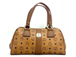 MCM Handtasche Boston Bag Visetos Cognac Tasche Heritage Henkeltasche Medium