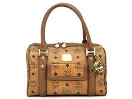MCM Handtasche Boston Bag Visetos One Pocket cognac Tasche Heritage Henkeltasche