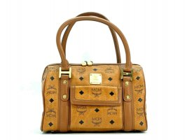 MCM Handtasche Boston Bag Visetos One Pocket Tasche Heritage Henkeltasche Cognac