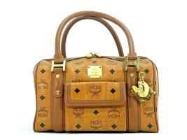 MCM Handtasche Boston Bag Visetos One Pocket Tasche Heritage Henkeltasche Cognac