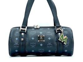 MCM Handtasche Boston Bag Visetos Schwarz Silber Tasche Henkeltasche LogoPrint