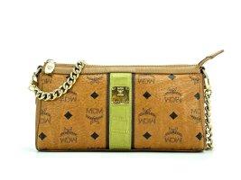 MCM Handtasche Clutch Tasche Bag Cognac Gold Visetos Schultertasche LogoPrint