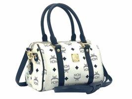 MCM Handtasche / Schultertasche mini Boston Bag Visetos weiss / marine Tasche