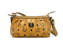 MCM Handtasche Tasche Bag Cognac Gold Visetos Schultertasche Small LogoPrint