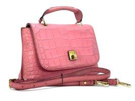 MCM Handtasche Tasche Bag Rosa Pink Gold Leder Schultertasche Reptiloptik Small
