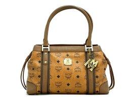 MCM Handtasche Visetos Cognac Tasche Heritage Henkeltasche Boston Bag + Anhänger